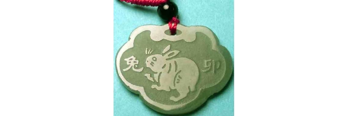 Rabbit Huotian Green Jade Pendant Necklace