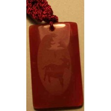 Goat Red Agate Rectangle Necklace