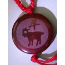 Goat Red Agate Round Necklace