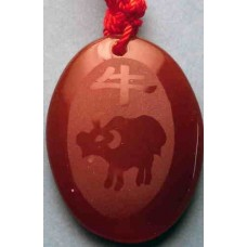 Ox Cow Bull Red Agate Necklace