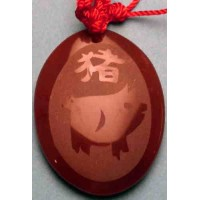 Pig Red Agate Oval Necklace