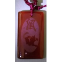 Rat Red Agate Rectangle Necklace