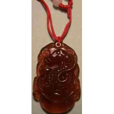 Snake Red Agate Carved Necklace