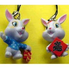 6 Plastic Rabbit Phone Straps