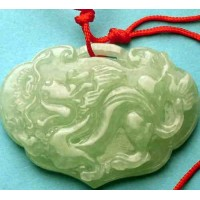 Longevity Dragon Green & White Pendant