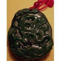 2-Side Carved Green Jadeite Dragon & Phoenix Pendant