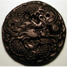 Pair of Dragon & Phoenix Black Jade Pendants
