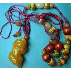 Pixiu Yellow Jade Large Necklace