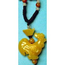 Rooster Yellow Jade Necklace
